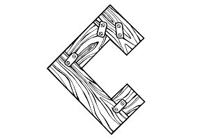 Wooden letter C engraving vector illustration