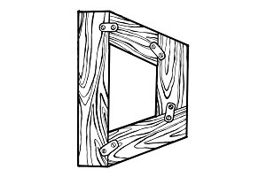 Wooden letter D engraving vector illustration