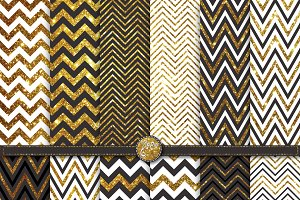 Gold Glitter Chevron Digital Paper