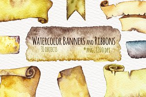 Watercolor Ribbon Banner