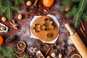 Gingerbread cookies preparation. Christmas cookies baking