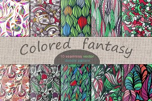 Colored fantasy. 10 vector pattern