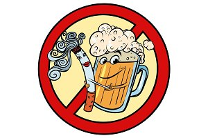 Beer and cigarette, sign ban