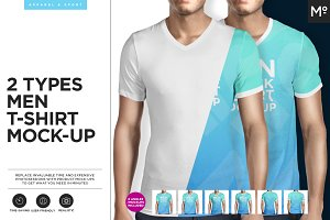 2 Types Men T-shirt Mock-up
