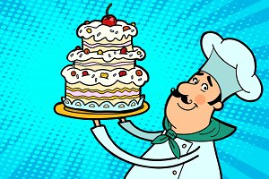Chef cook character with cherry cake