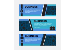 Three Business banners. Set of design elements