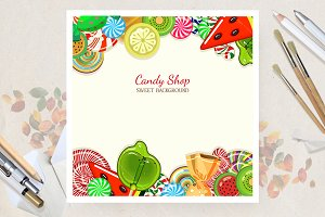 Sweet candy. Food template