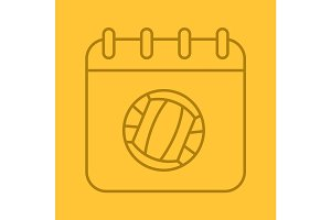 Volleyball championship date linear icon
