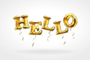 HELLO Gold metallic balloon vector