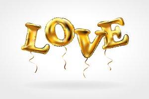 Gold letter love balloons bector