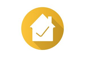 Checked house flat design long shadow glyph icon