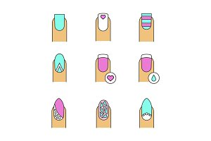 Manicure color icons set
