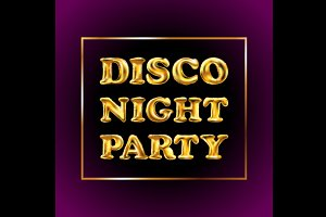 disco night party vector Gold letter
