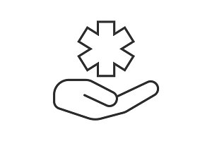 Open hand with star of life linear icon