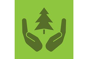Open palms with fir tree glyph color icon