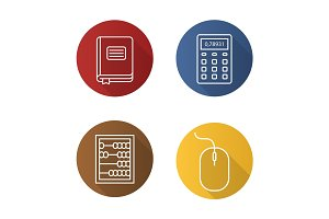 Accounting flat linear long shadow icons set