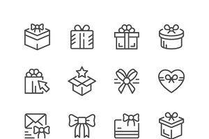 Set line icons of gift