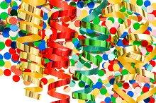 confetti with shiny streamer