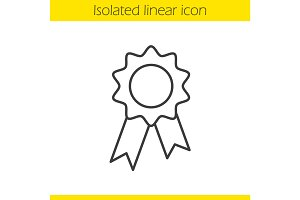 Seal stamp with ribbon linear icon