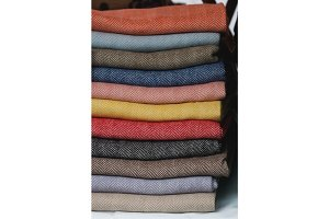 Stack of colored warm scarves