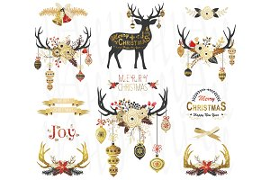 Gold Glitter Christmas Antlers