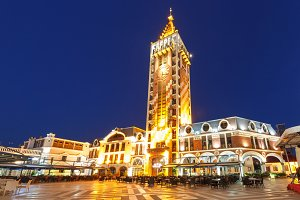Piazza Square at night in Batumi, Adjara, Georgia