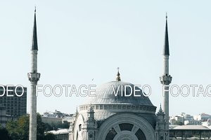 Slowmotion view of famous Istanbul mosque on Bosphorus from floating tourist boat