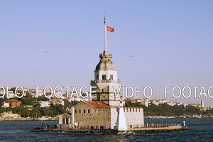 Slowmotion of Maiden Tower view from Bosphorus Sea in Istanbul, Turkey