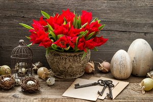 Easter Decoration with Red Tulips
