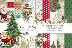 SANTA CLAUS DIGITAL PAPER PACK