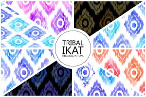 8 Ikat seamless patterns