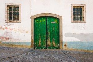 Old garage green door