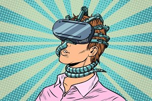 young man in a virtual reality, gadget parasite