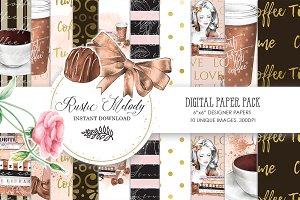 COFFEE DIGITAL PAPER PACK