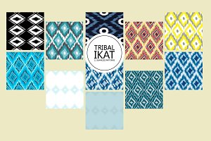 11 Ikat seamless patterns