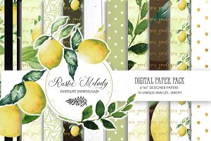 LEMON DIGITAL PAPER PACK