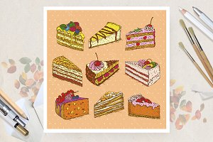 Set with hand drawn cakes