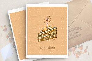 Birthday cake. Doodle style