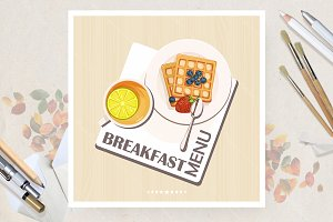 Business lunch vector poster