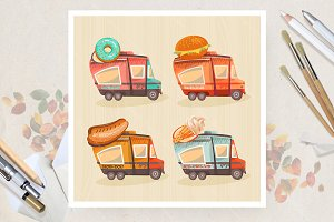 Vans with fastfood. Vector set.