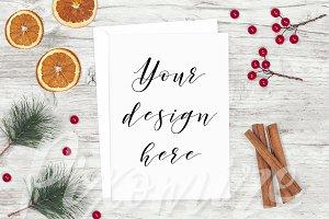 Rustic Christmas Card Mockup
