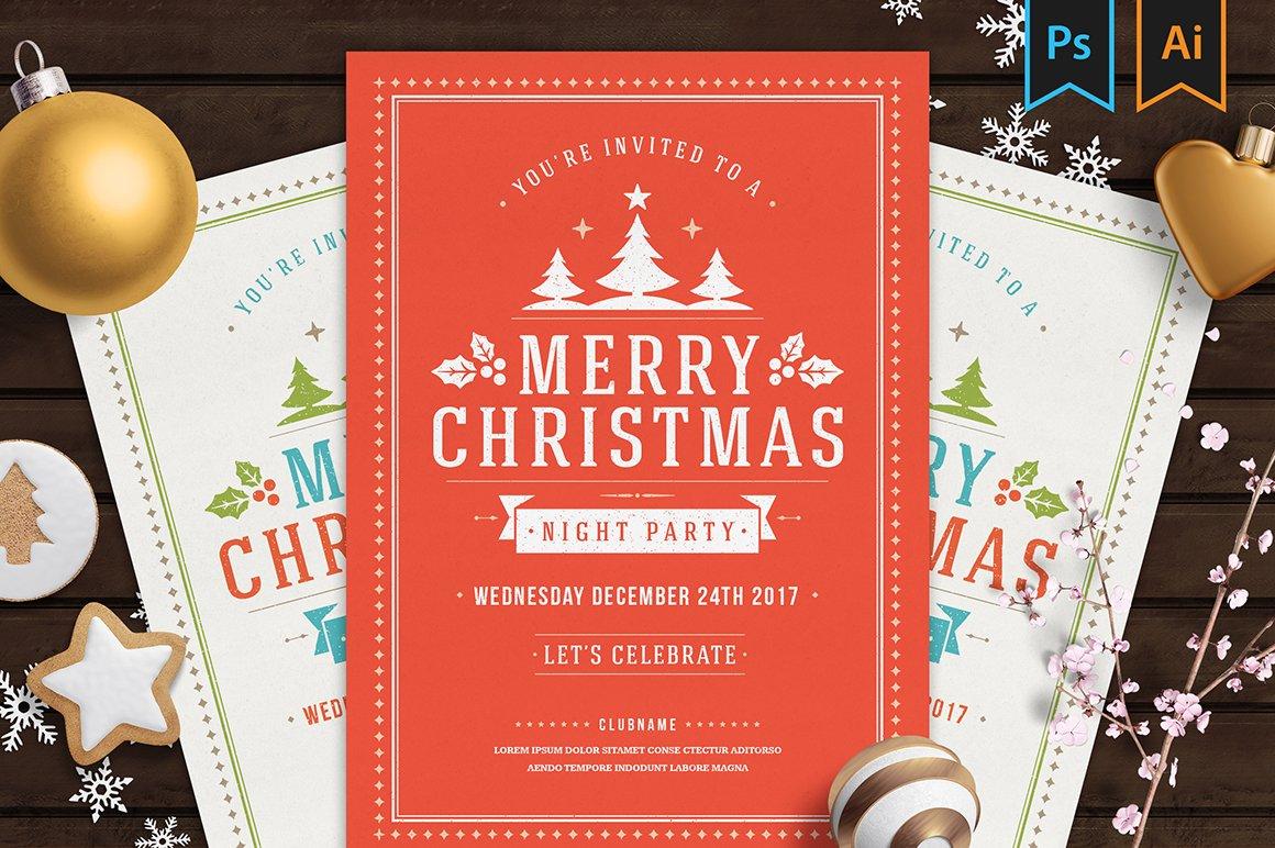 Christmas party invitation flyer ~ Flyer Templates ~ Creative Market