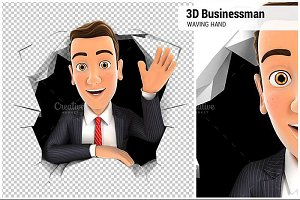 3d businessman waving hand