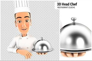 3D Head Chef Restaurant Cloche