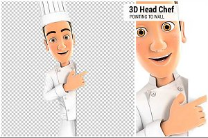3D Head Chef Pointing to Blank Wall