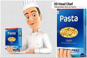 3D Head Chef Presenting Pasta