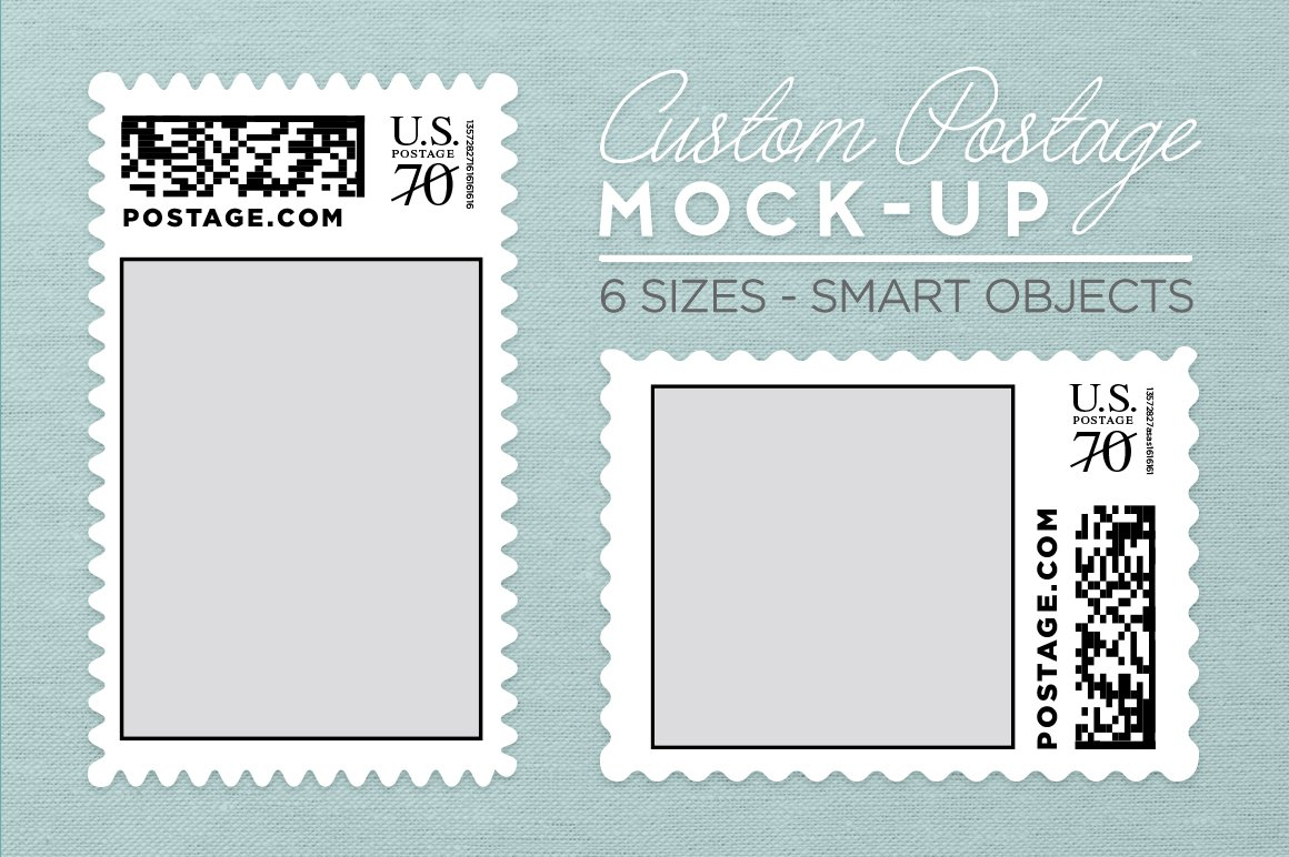 custom postage stamp template product mockups creative market. Black Bedroom Furniture Sets. Home Design Ideas