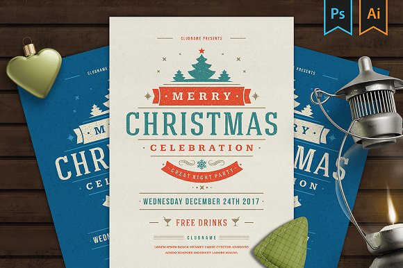 Christmas party invitation flyer Flyer Templates Creative Market – Party Invitation Flyer