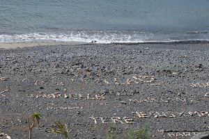 beach with letters