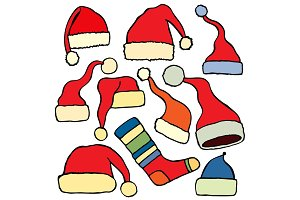 set santa claus hat